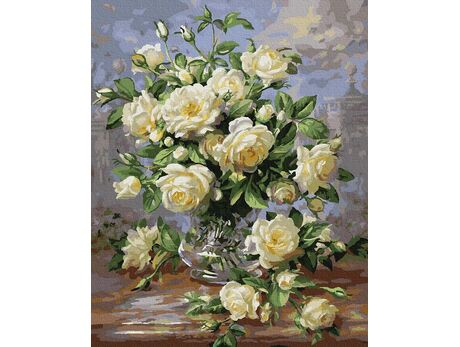 A bouquet of white roses paint by numbers