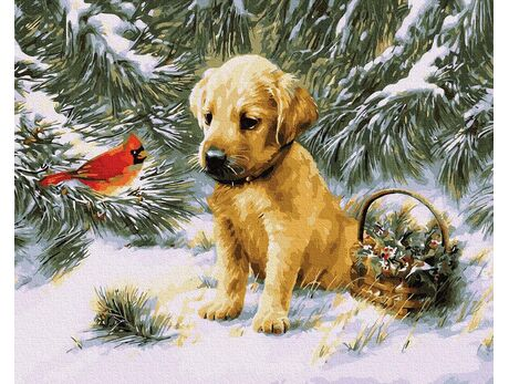 Puppy under the Christmas tree paint by numbers