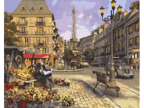 Florist in Paris paint by numbers