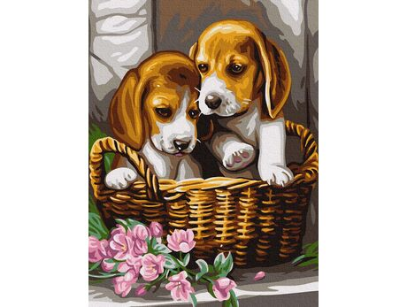 Puppies in a basket paint by numbers