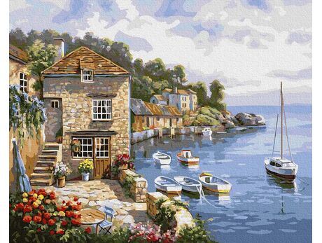 Picturesque pier paint by numbers