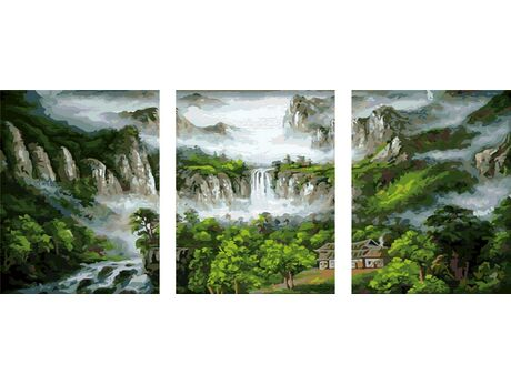 Waterfall in the mountains paint by numbers