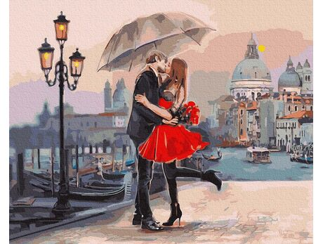 Lovers on the bridge paint by numbers