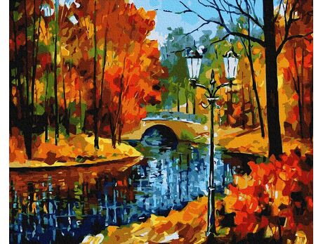 Park in autumn paint by numbers