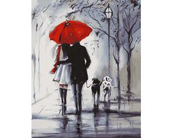 Walk under the red umbrella