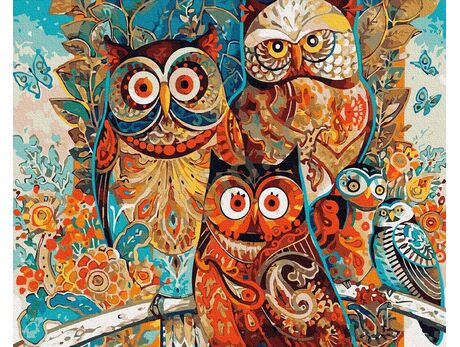 Owls paint by numbers