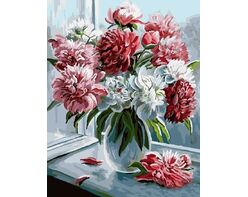 Peonies by the window