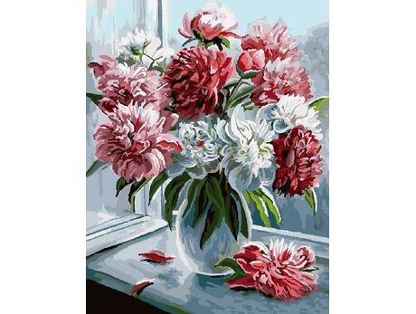 Peonies by the window paint by numbers