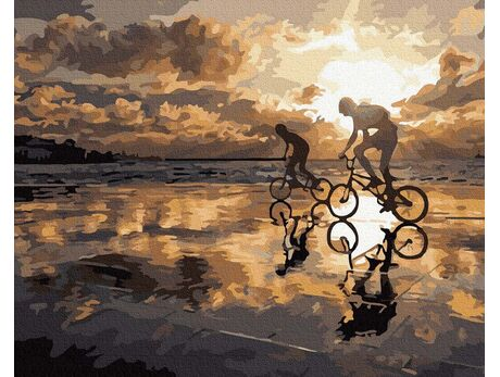 Cycling at sunset paint by numbers