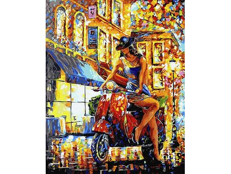 Girl on scooter paint by numbers