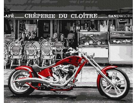 Red motorcycle paint by numbers
