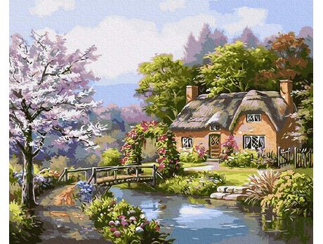 Cottage by the river paint by numbers