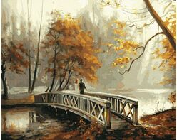 A bridge in an autumn park