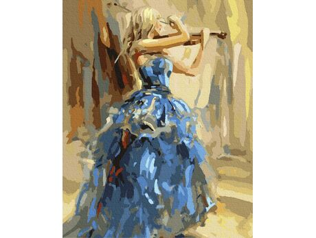 Violinist in a blue dress