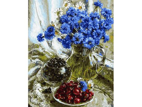 Bouquet of cornflowers paint by numbers