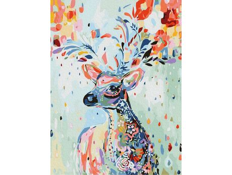 A floral deer paint by numbers