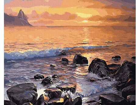 Waves at sunset paint by numbers
