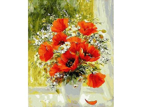 Poppies and daisies paint by numbers