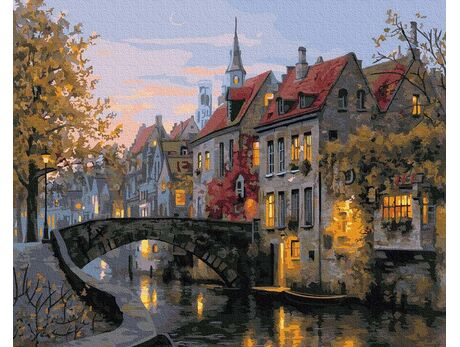 Old Belgian streets, Bruges paint by numbers