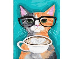 A cat with a cup of latte