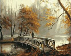 Bridge in an autumn park