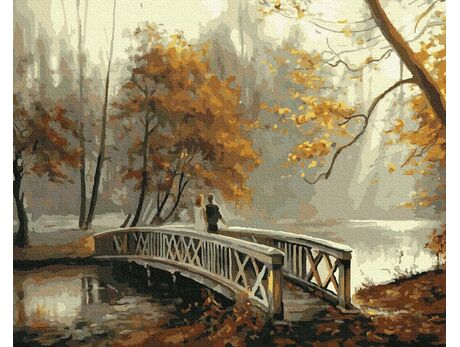 Bridge in an autumn park paint by numbers