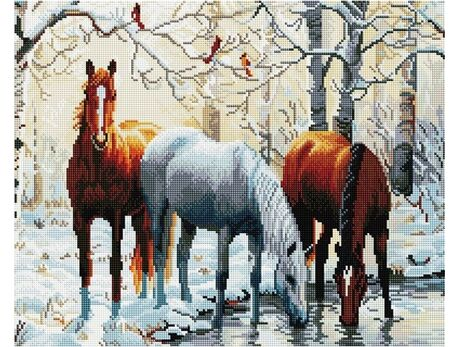 Horses by the river diamond painting