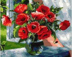 Bouquet of scarlet poppies
