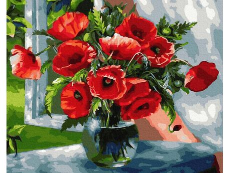 Bouquet of scarlet poppies paint by numbers
