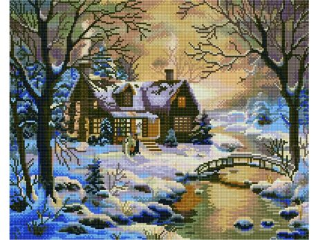 Winter house in the woods diamond painting