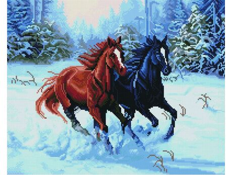 Horses at a gallop diamond painting