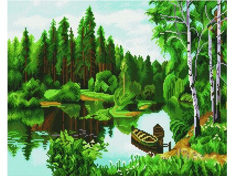 Forest lake diamond painting