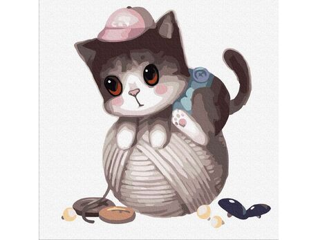 Kitten on a ball of thread paint by numbers