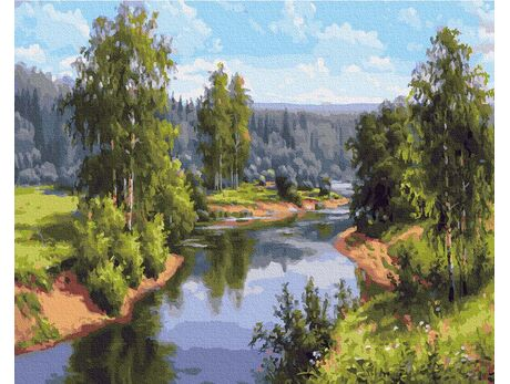 Summer landscape paint by numbers