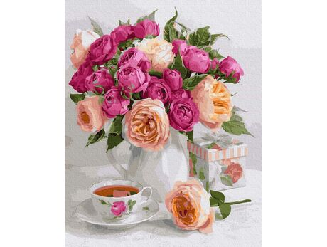 A bouquet of roses on the table paint by numbers