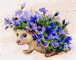 Hedgehog and cornflowers