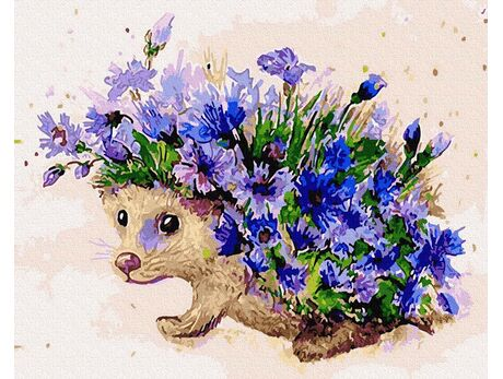 Hedgehog and cornflowers paint by numbers