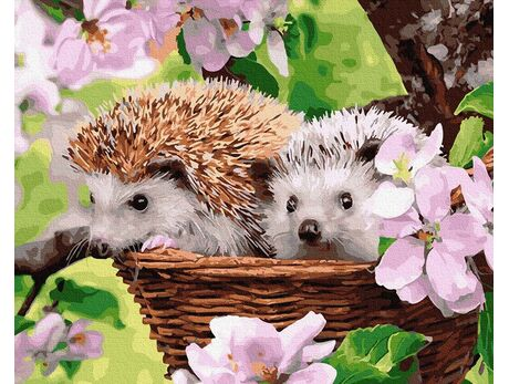 Hedgehogs in a basket paint by numbers