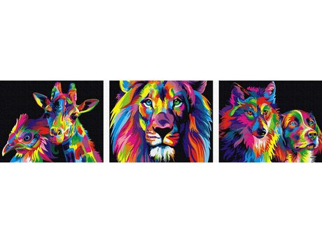 Colorful animals paint by numbers