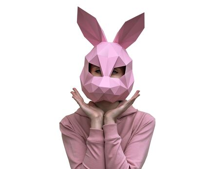Rabbit mask (pink) papercraft 3d models