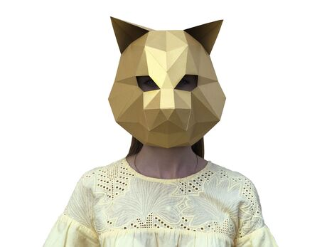Cat mask (gold) papercraft 3d models