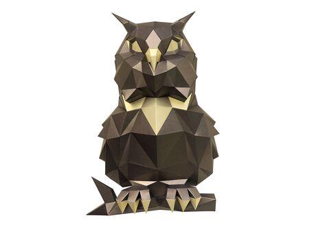 Puffy owl (bronze) papercraft 3d models