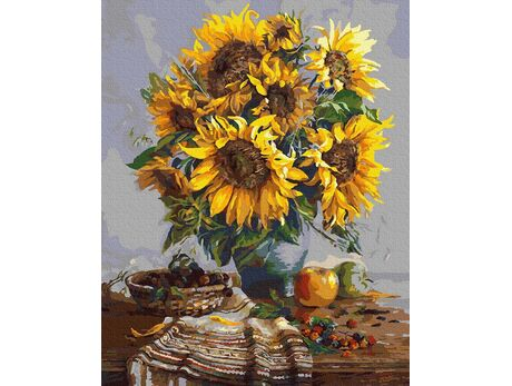 A bouquet of sunflowers paint by numbers