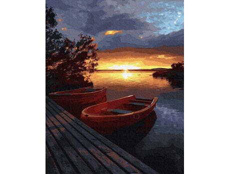 Sunset over the lake paint by numbers