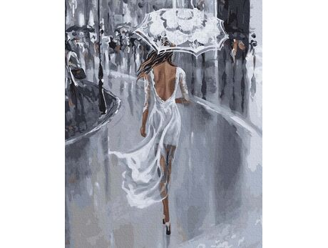 In a white dress in the rain paint by numbers