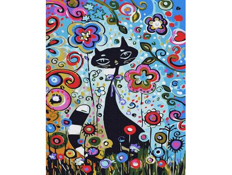 Kitty among the flowers paint by numbers