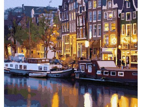 Night lights of Amsterdam paint by numbers