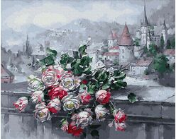 Roses and old town view