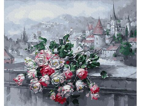 Roses and old town view paint by numbers