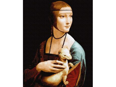Lady with an Ermine. Leonardo da Vinci paint by numbers